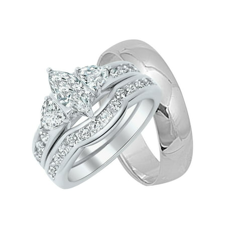 His and Her Wedding Rings Set Sterling Silver Wedding Bands for Him and Her (6/11)