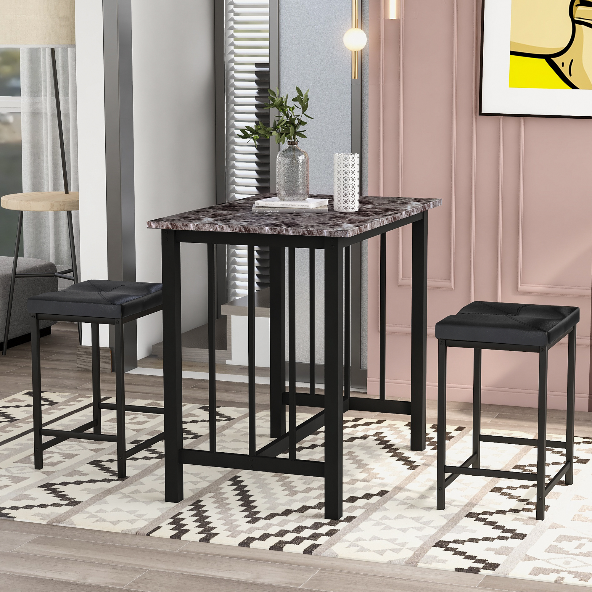Toyosun 3 Piece Bar Table Set Kitchen Counter Height Dining Set Bar Table With 2 Bar Stools Industrial For Kitchen Living Room Marble Walmart Com Walmart Com