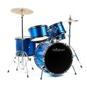 Trident Drum Set 5 PCS Complete Set Cymbals Drumsticks Pearl Blue