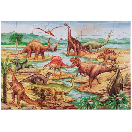 Melissa & Doug Dinosaurs Floor Puzzle (Extra-Thick Cardboard Construction, Beautiful Original Artwork, 48 Pieces, 2' x 3')