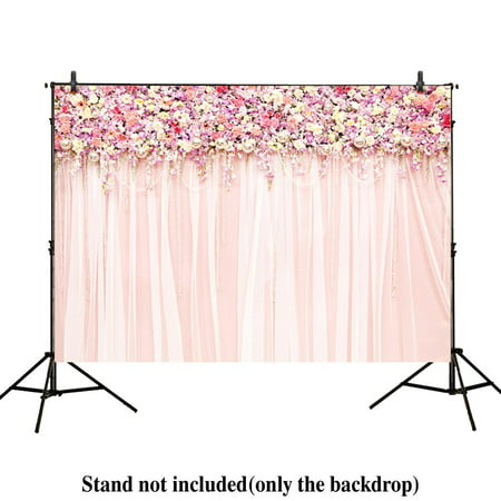 GreenDecor Polyster 7x5ft photography backdrops wedding decoration party pink floral Flower wall curtains Birthday Bridal shower banner photo studio booth background photocall](Photo Booth Curtains)