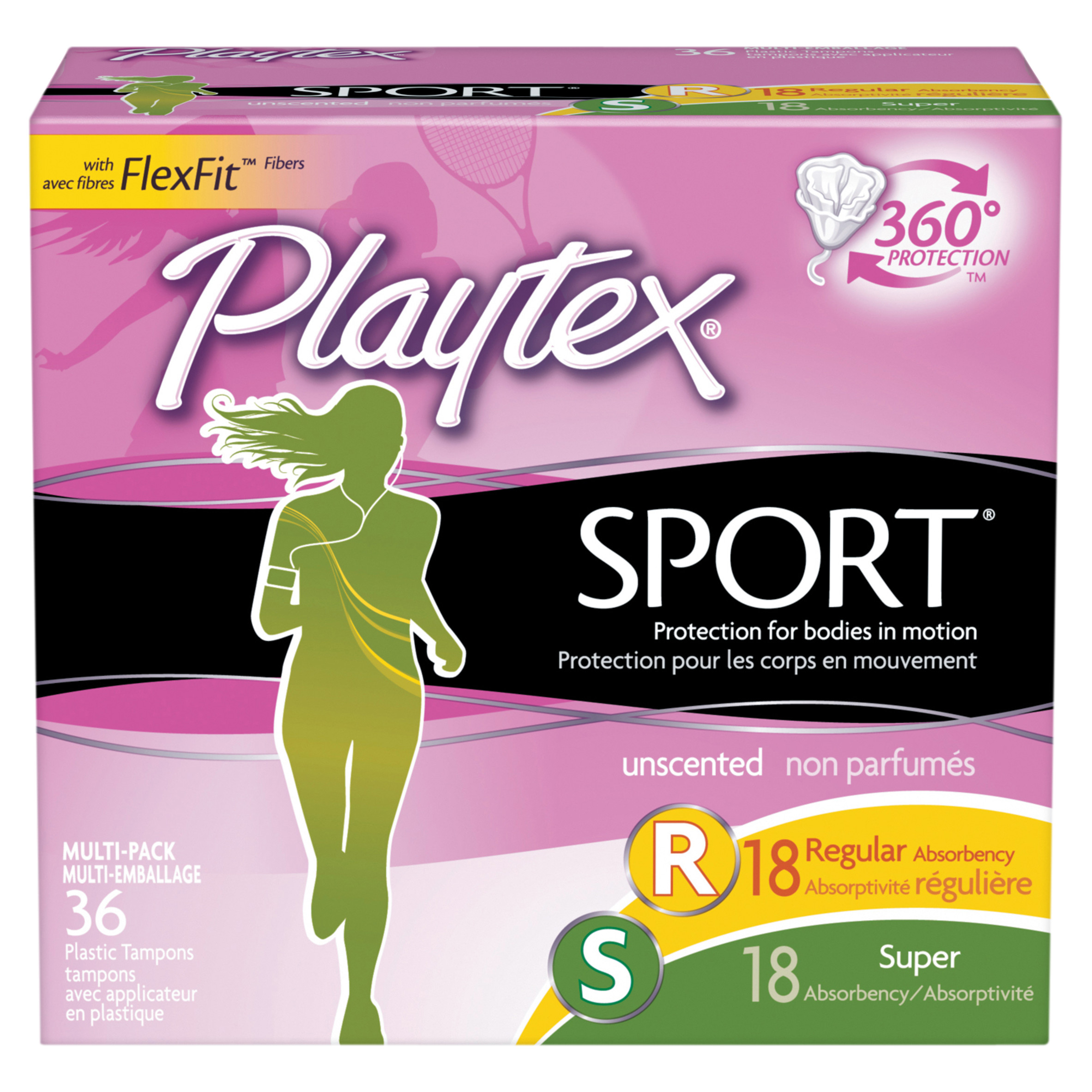 Playtex Sport Tampons Unscented Multi-Pack 18 Regular Absorbency And 18 Super Absorbency - 36 Count