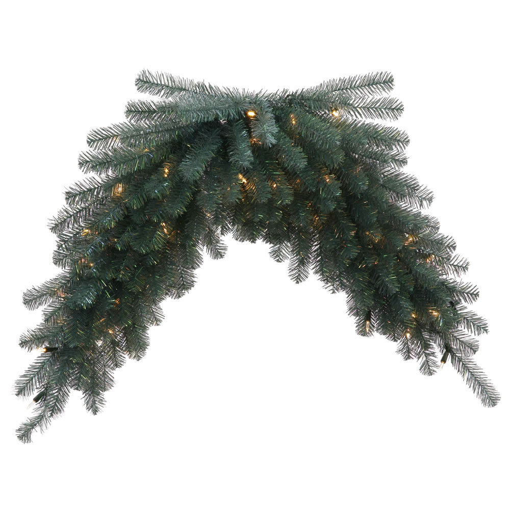 """48"""" Blue Crystal Artificial Christmas Swag - Warm White LED Lights"""