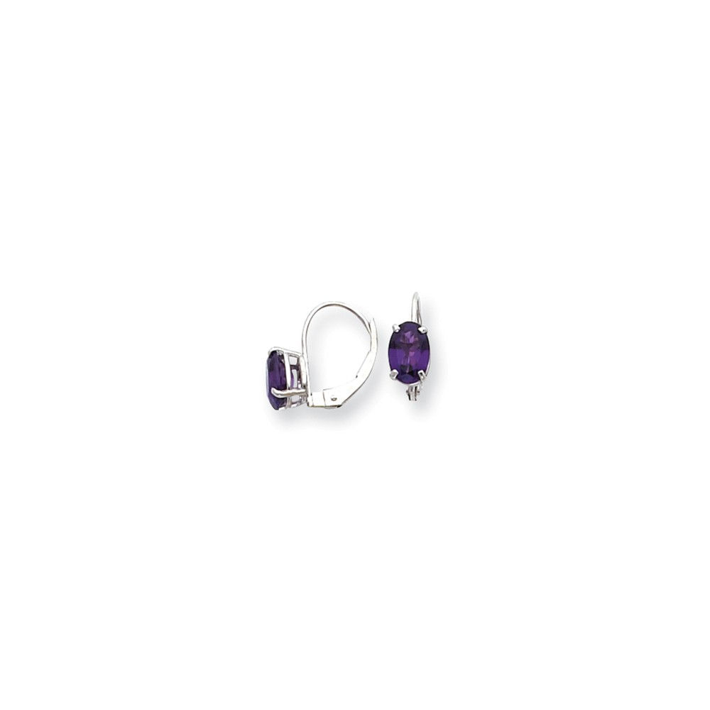 14k White Gold 0.5IN Long 7x5mm Oval Amethyst leverback Earrings