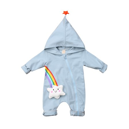 Baby Girls Boys Long Sleeve Romper Hoodie Rainbow Zipper Fall Winter Jumpsuit Clothes Set - Zipper Bow