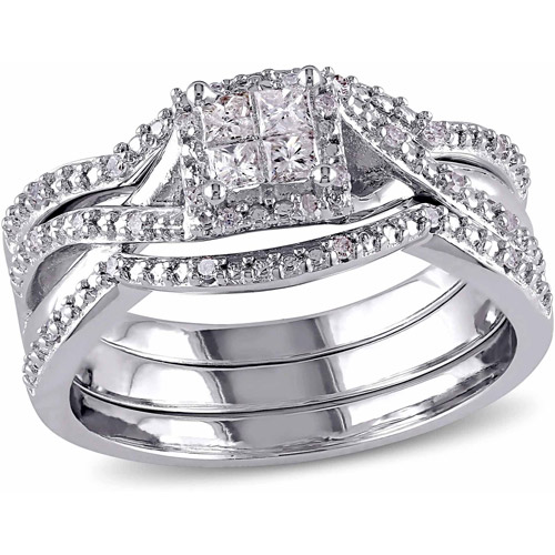 Miabella 1/3 Carat T.W Princess- and Round-Cut Diamond Sterling Silver Bridal Ring Set