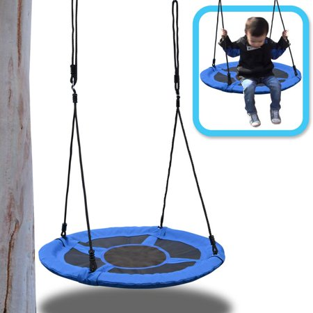 "Bocgsfdfgns 40"" Flying Squirrel Giant Rope Swing -  Saucer Tree Swing - Blue"