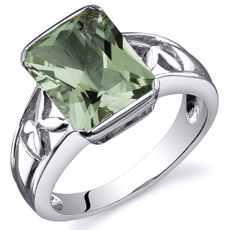 Peora 2.75 Ct Green Amethyst Engagement Ring in Rhodium-Plated Sterling Silver ()