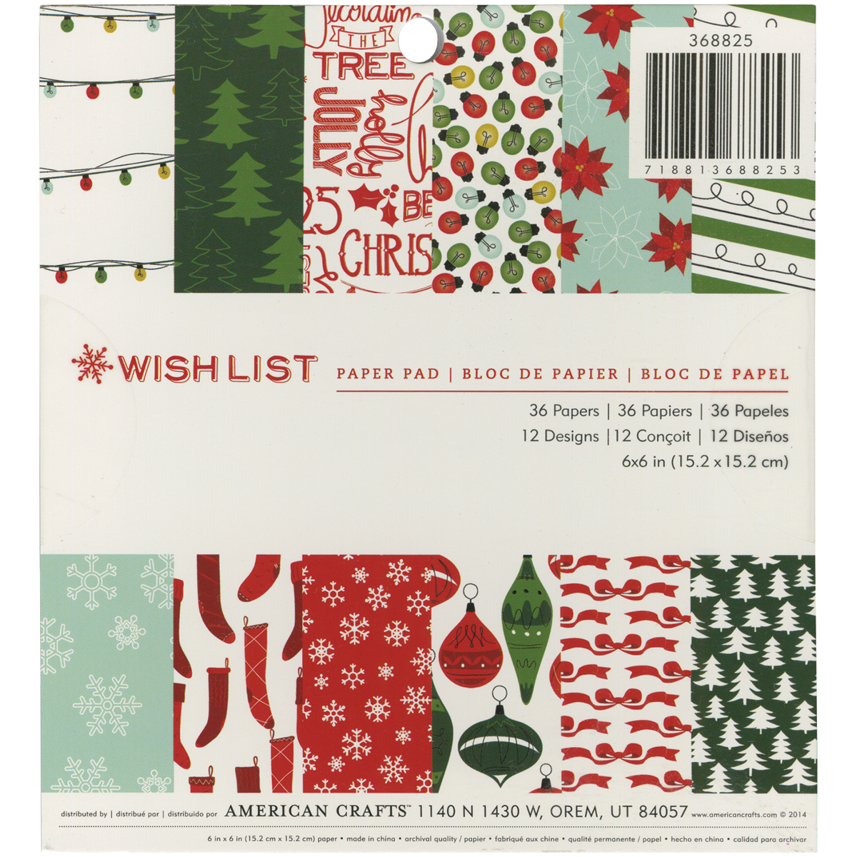 American Crafts Paper Pad 6 Inch X 6 Inch 36/Pkg-Wish List
