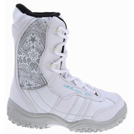 Junior Snowboard Clothing - M3 Venus Jr. Snowboard Boots White/Grey Youth Sz 3
