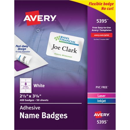 Avery R  White Adhesive Name Badges 5395  2 1 3  X 3 3 8   Box Of 400