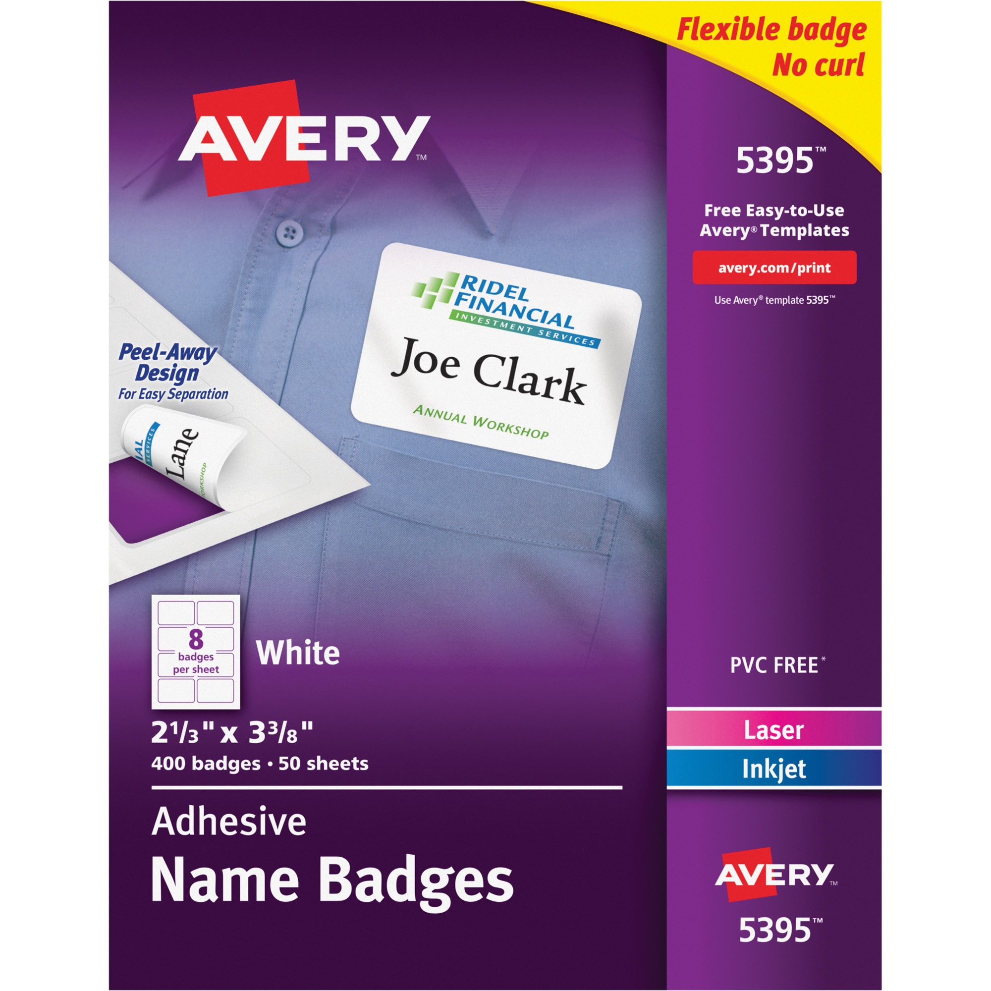"Avery(R) White Adhesive Name Badges 5395, 2-1/3"" x 3-3/8"", Box of 400"