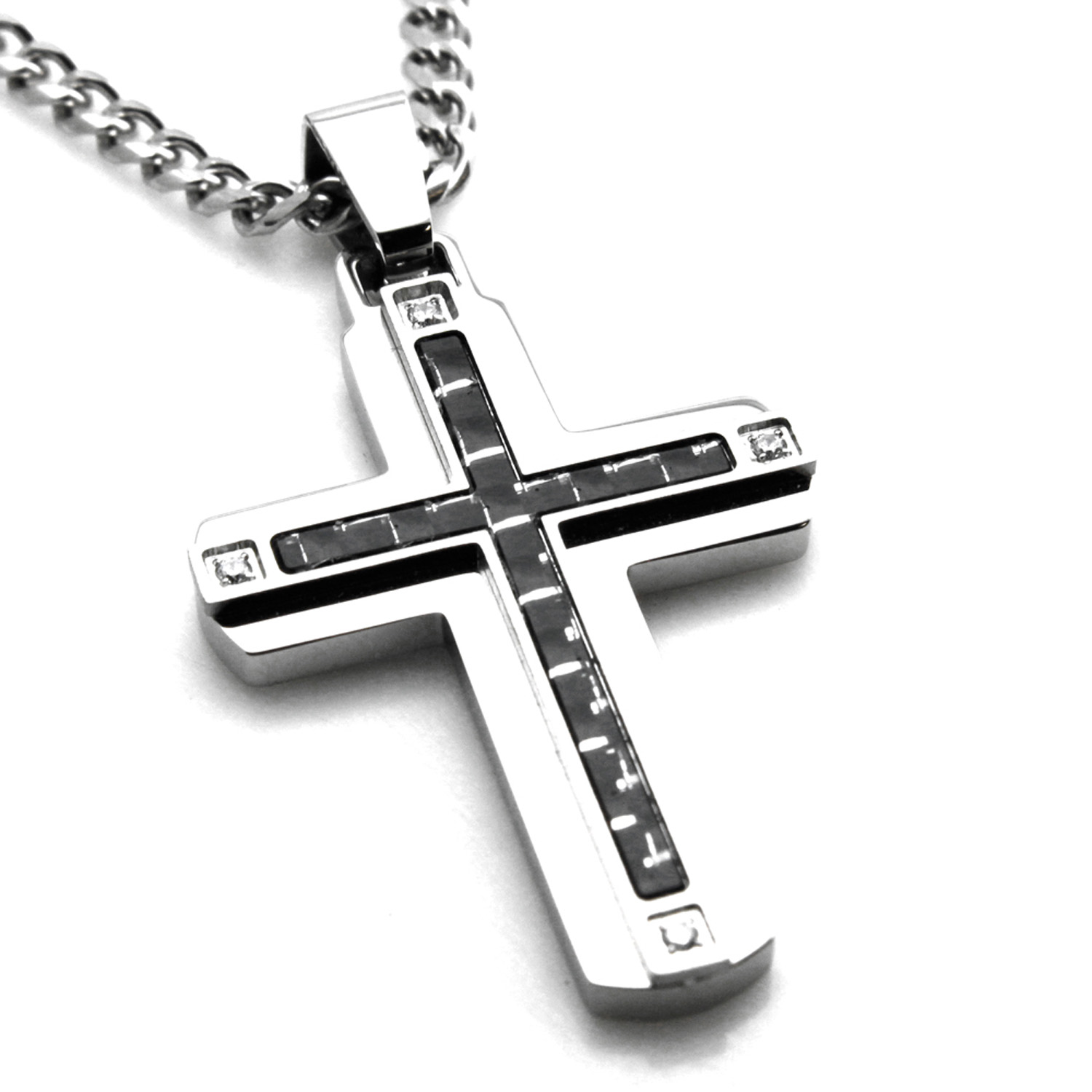 Stainless Steel Cubic Zirconia Black & White Carbon Fiber Inlay Cross Pendant