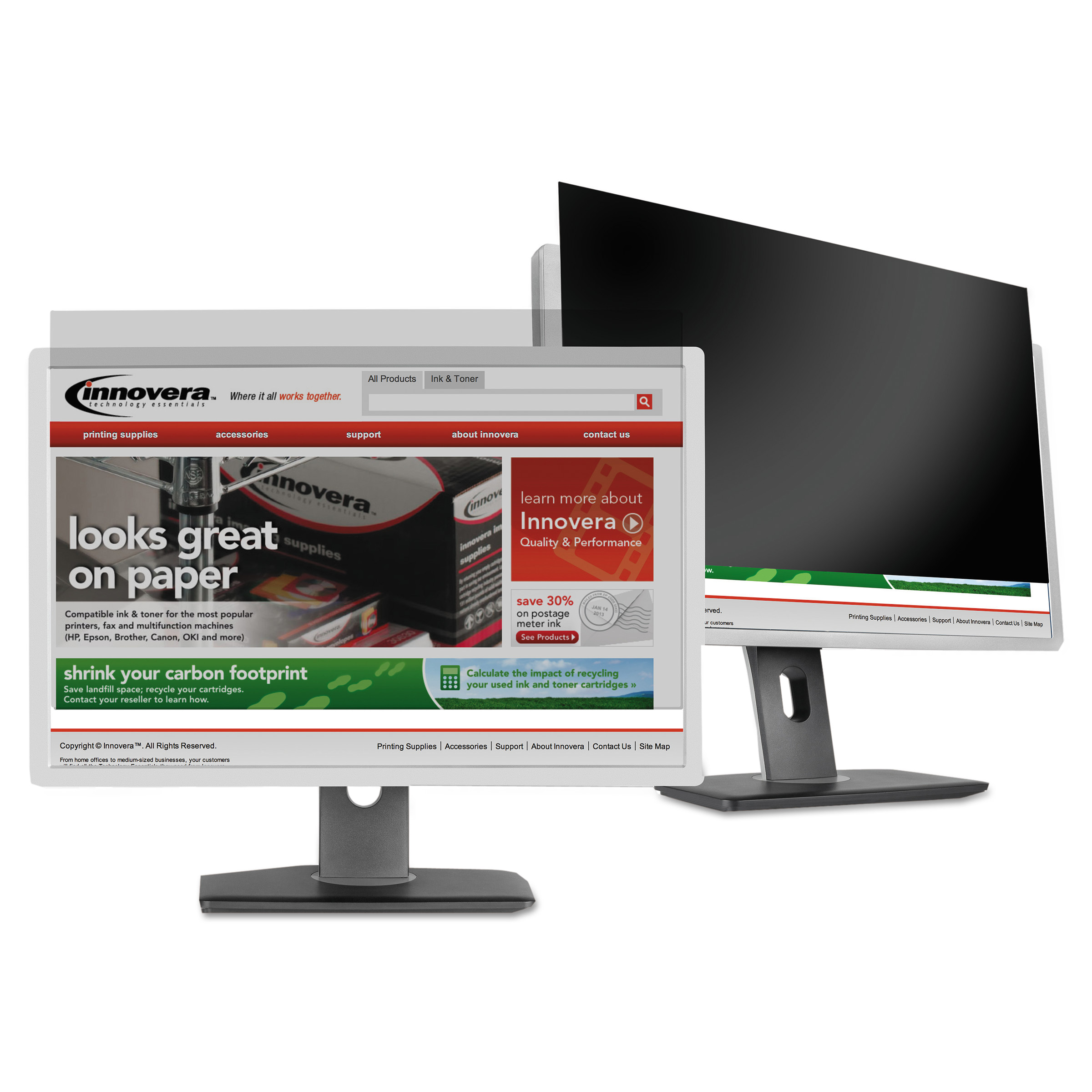 "Innovera Blackout Privacy Filter for 27"" Widescreen LCD Monitor, 16:9 Aspect Ratio"