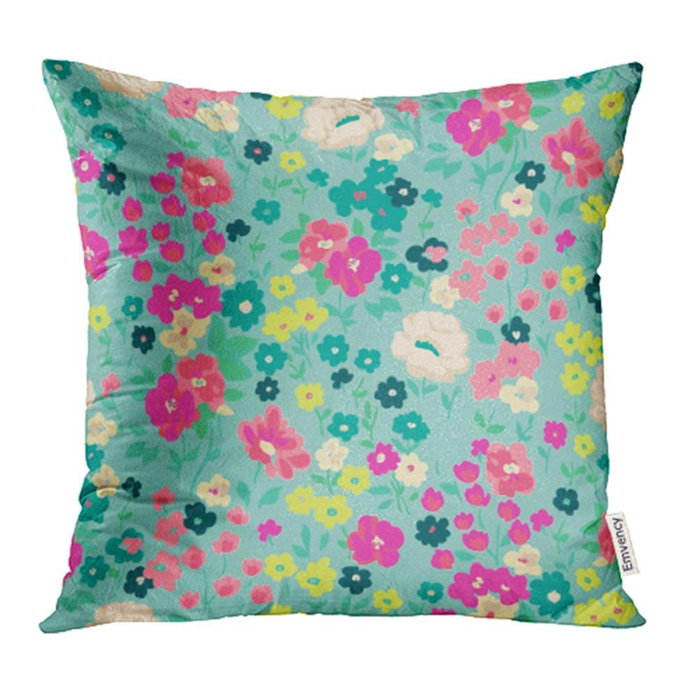 USART Colorful Floral Cute Flower Pattern Pink Ditsy Poppy Flora Graphic Retro Small Pillowcase Cushion Cases 18x18 inch