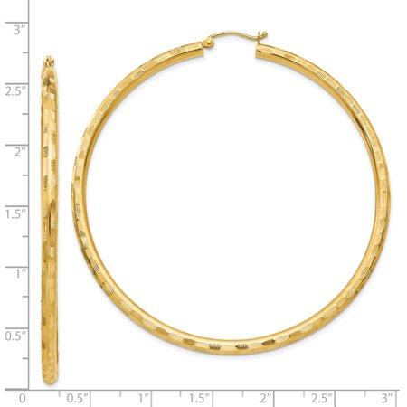 14k Yellow Gold Textured Hoop Earrings Ear Hoops Set Fine Jewelry For Women Gifts For Her - image 2 de 8