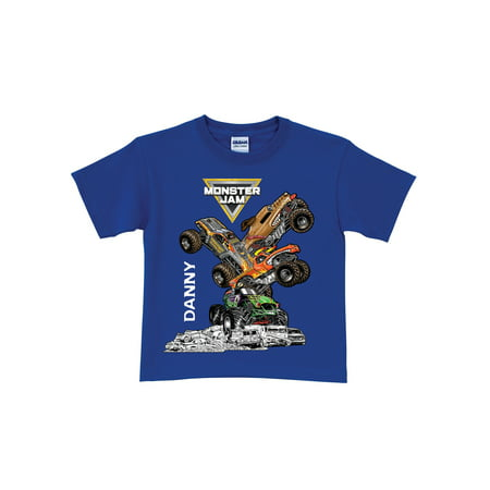 Personalized Monster Jam Stack-Up Royal Blue Boys' (Pearl Jam T-shirts Band)