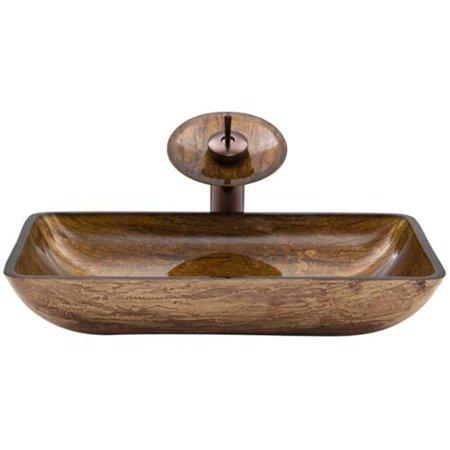 Vigo Rectangular Amber Sunset Glass Vessel Sink and Waterfall Faucet ...