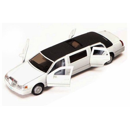 1982 82 Lincoln Town Car - 1999 Lincoln Town Car Stretch Limousine, White - Kinsmart 7001DW - 1/38 scale Diecast Model Toy Car (Brand New, but NOT IN BOX)