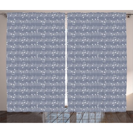 Grey Decor Curtains 2 Panels Set, Piano Music Clay Motif with Various Notes Symbols Beat Melody Rhythm Harmony Jazz, Window Drapes for Living Room Bedroom, 108W X 90L Inches, Ash White, by Ambesonne - Halloween Music Piano Notes