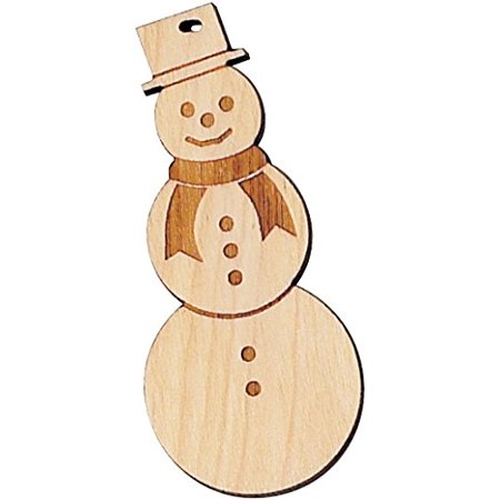 Snowman Made Out Of Wood (Maple Cut Out Ornament - Snowman - Made in USA, Made in the USA from solid maple By Maple)