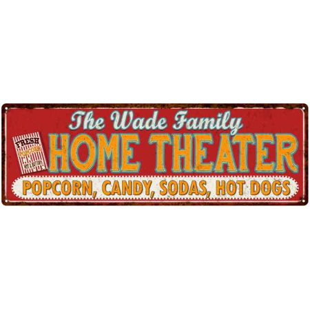 The WADE Family Home Theater Sign Gift 6x18 Metal Movies Decor 106180100297
