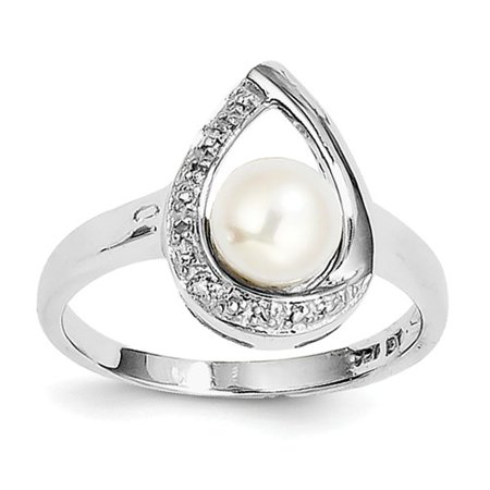Plated Cultured Freshwater Pearl Ring (Sterling Silver 0.02ct Rhodium Plated Diamond & Freshwater Cultured Pearl Ring)