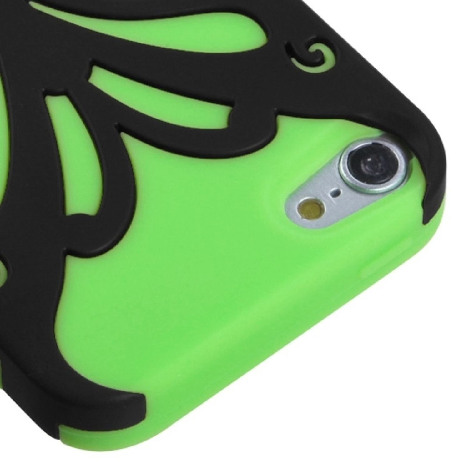 Insten Rubberized Black/Electric Green Butterflykiss Hybrid Hard Phone Case for iPod touch (5 5G 5th 6 6G 6th Gen)