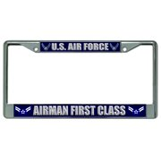 Air Force Airman First Class Photo License Frame.  Free Screw Caps Included