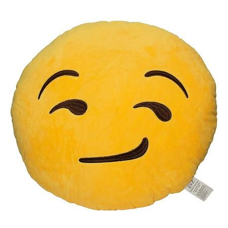 Emoji Smiley Emoticon Yellow Round Plush Pillow - Smirking