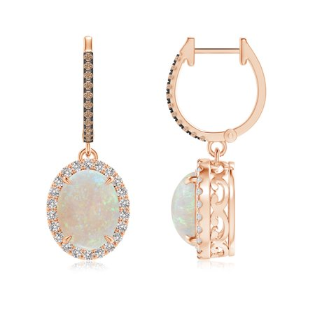 October Birthstone Earrings Oval Opal Dangle With Coffee And White Diamond In 14k Rose