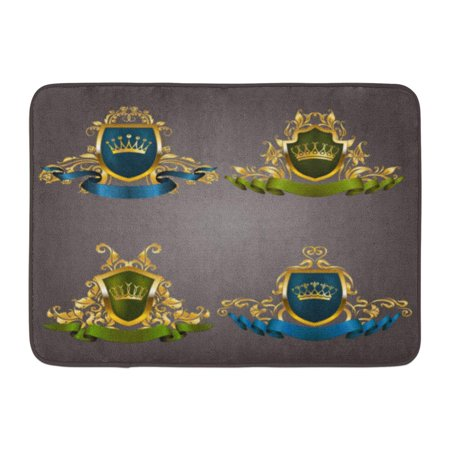 GODPOK Abstract Gold VIP Monograms for Graphic on Gray Elegant Graceful Ribbon Filigree Border Crown in Vintage Rug Doormat Bath Mat 23.6x15.7 inch