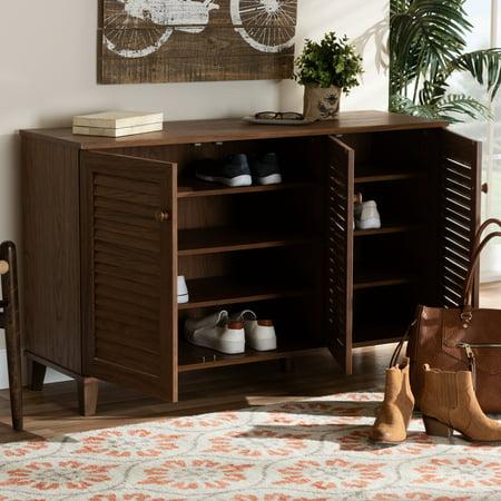 - Baxton Studio Coolidge Modern and Contemporary Walnut Finished 8-Shelf Wood Shoe Storage Cabinet