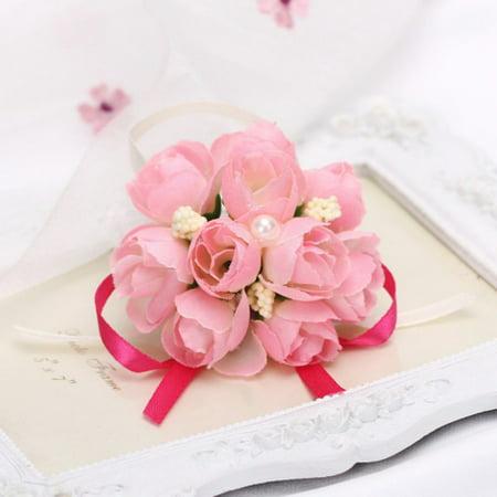 5e756b6ec889 Bridesmaid Wedding Elastic Wrist Corsage Party Prom Handband Flower Decor -  Walmart.com