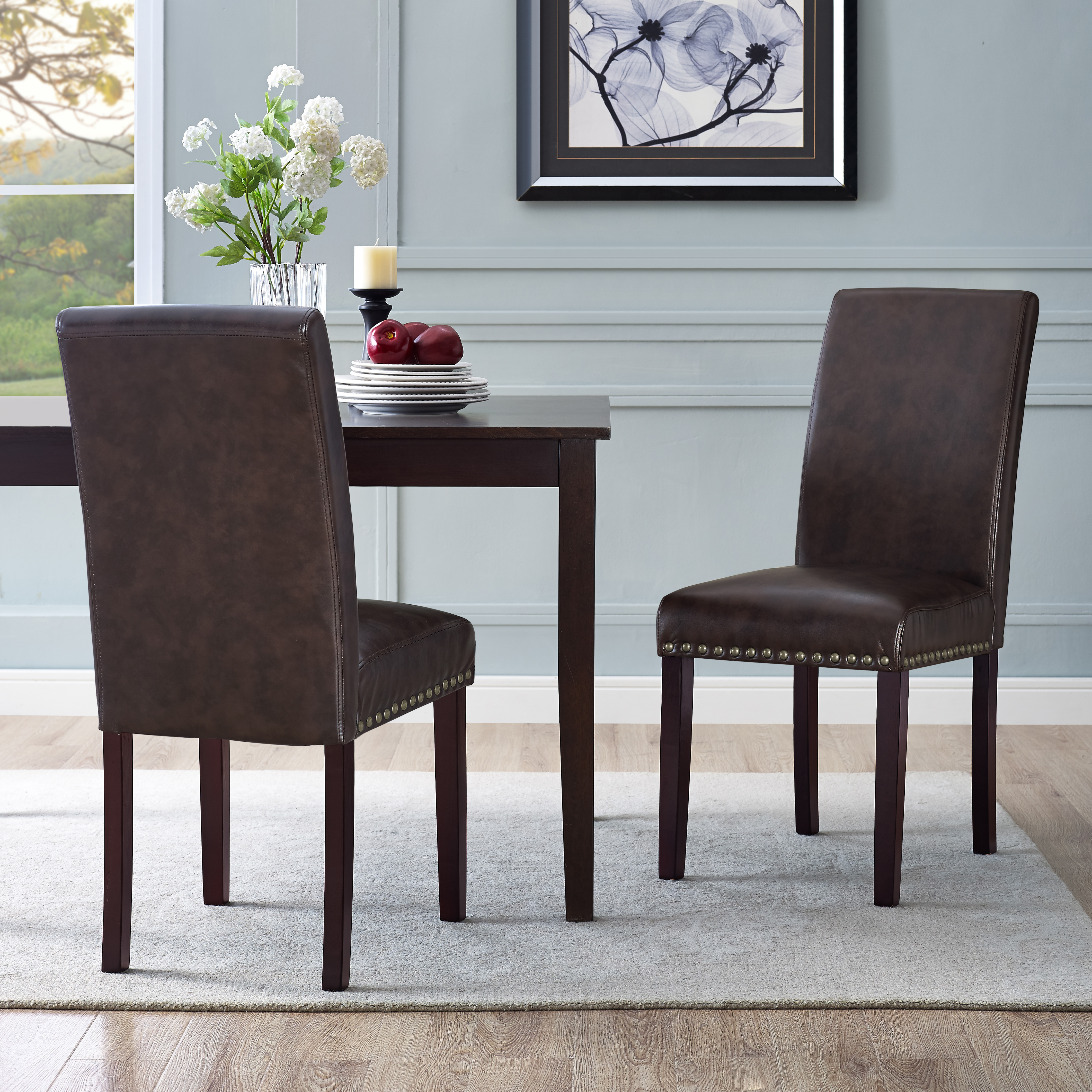 Dhi Nice Nail Head Faux Leather Dining Chair 2 Pack Multiple Colors