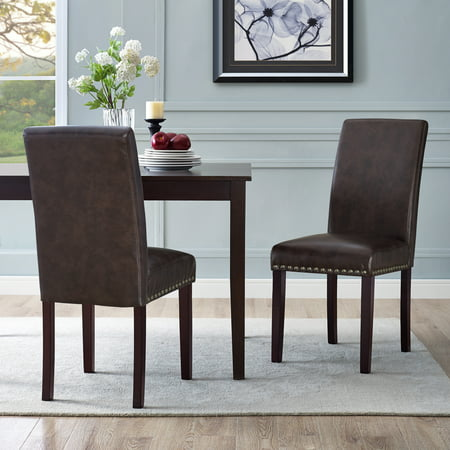 DHI Nice Nail Head Faux Leather Dining Chair, 2 Pack, Multiple Colors ()