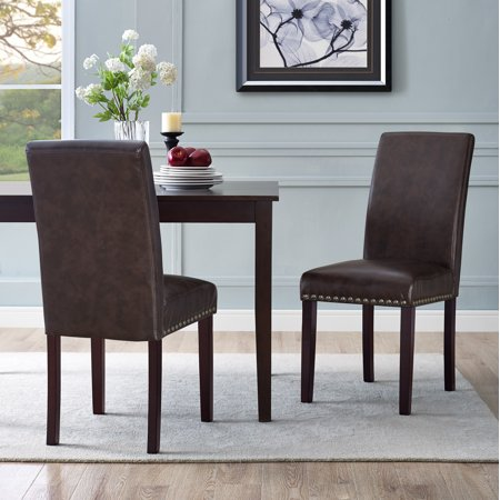 Metro Side Chair 2 Chairs - DHI Nice Nail Head Faux Leather Dining Chair, 2 Pack, Multiple Colors