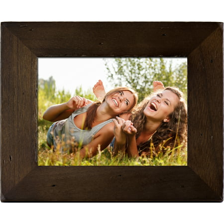 Polaroid - 8in Digital Photo Frame with Decorative Candlenut Distressed Wood Frame Series Digital Photo