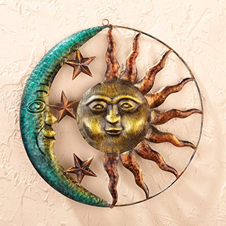 Sun & Moon Celestial Wall Sculpture Outdoor Patio Porch Hanging Sign Wall Plaque Sunburst Art -