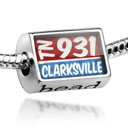 Bead 931 Clarksville, TN red/blue Charm Fits All European Bracelets ()