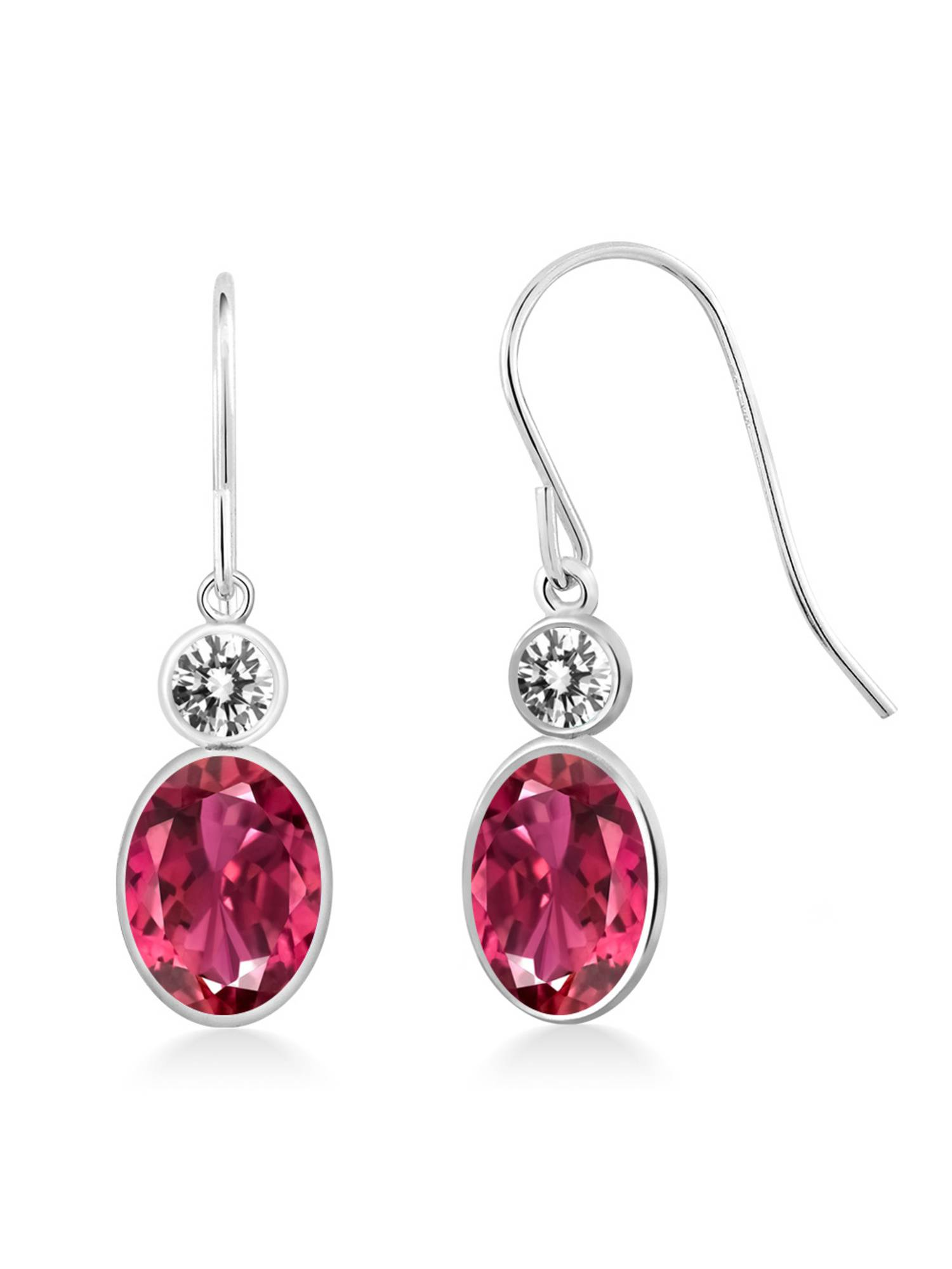 1.60 Ct Oval Pink Tourmaline AA White Diamond 14K White Gold Earrings by