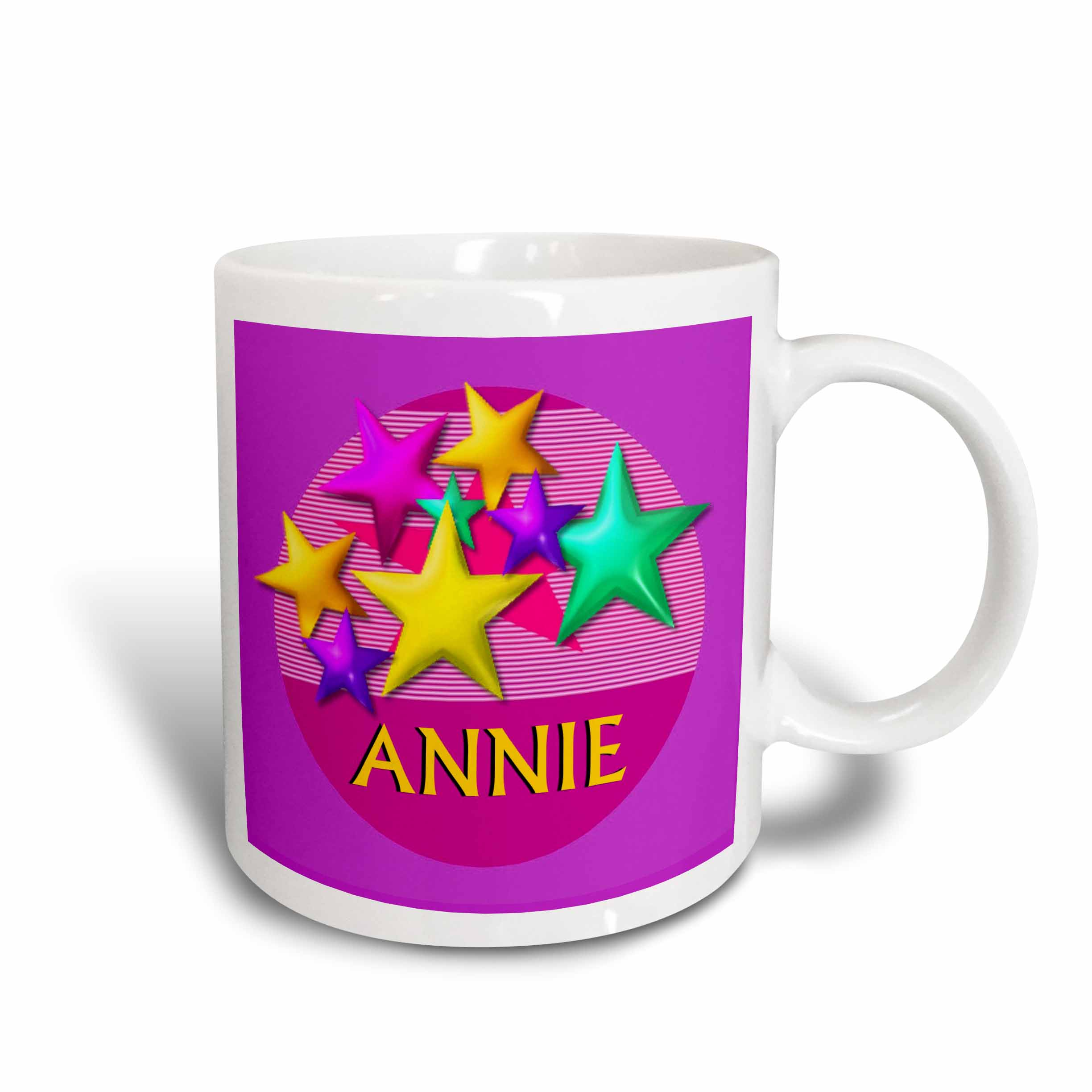 3dRose Vibrant colored stars on a pink background with the name ANNIE, Ceramic Mug, 11-ounce