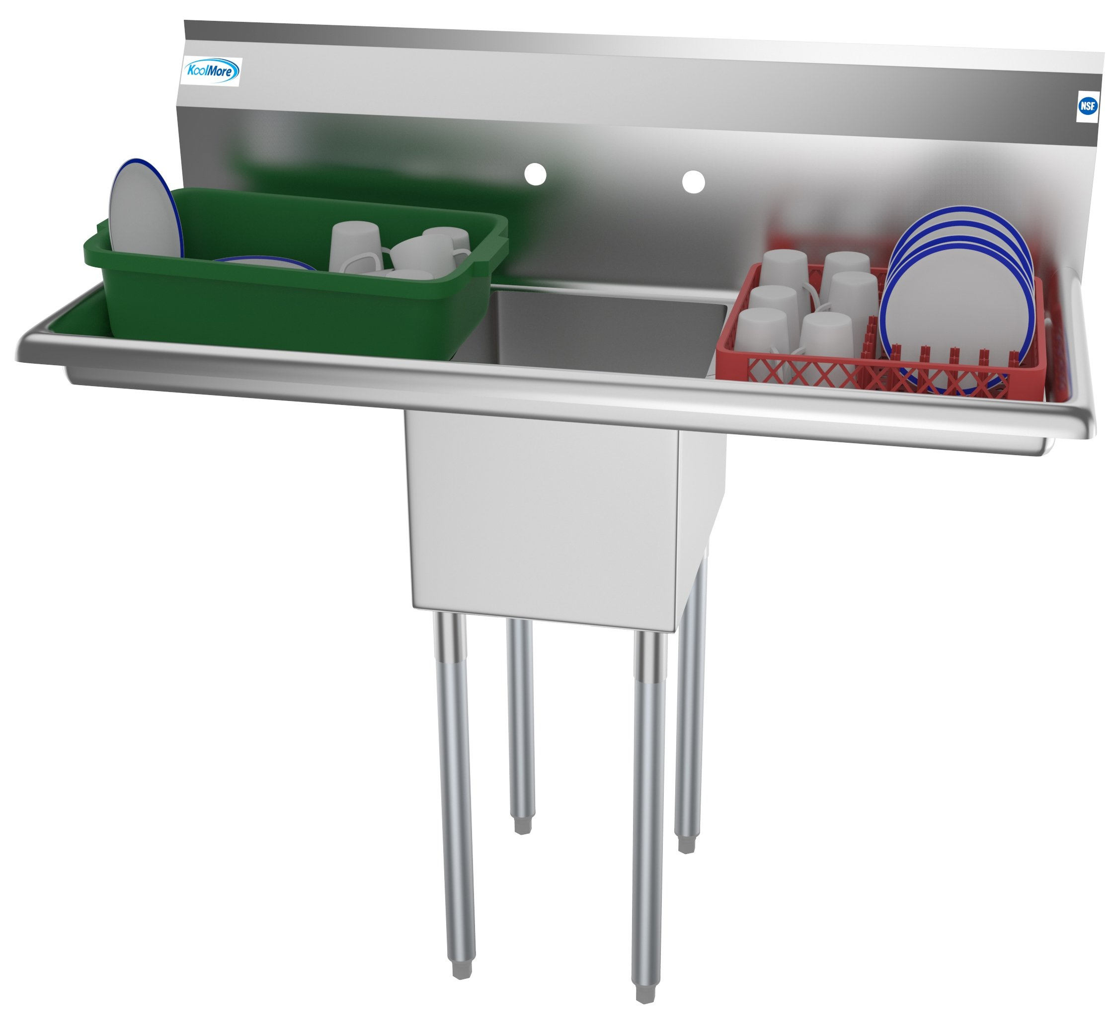 """1 Compartment 44"""" Stainless Steel Commercial Kitchen Prep & Utility Sink with 2 Drainboards - Bowl Size 12"""" x 16"""" x 10"""""""
