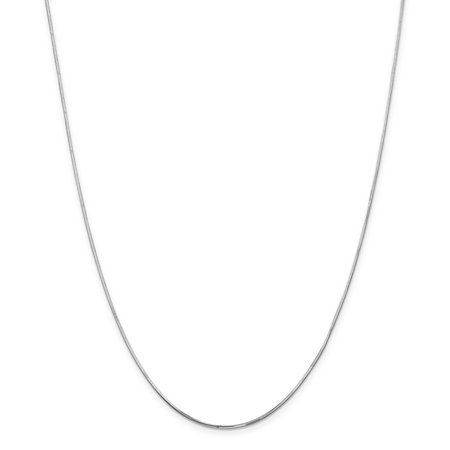 14K White Gold 1.2 MM Octagonal Snake Link Chain Necklace, 24