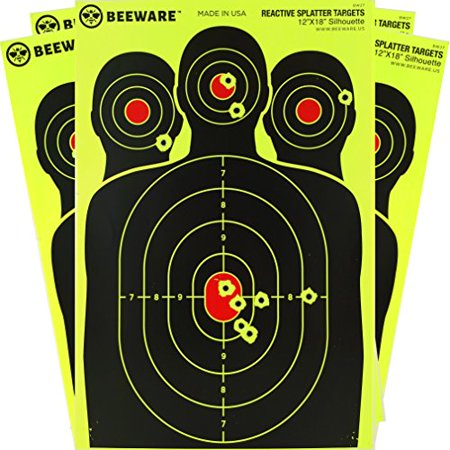 Reactive Target System (BEEWARE Targets (THICKER - BRIGHTER - BETTER) 12x18 Silhouette Fluorescent Reactive Splatter Targets for Shooting Indoor/Outdoor Ranges)