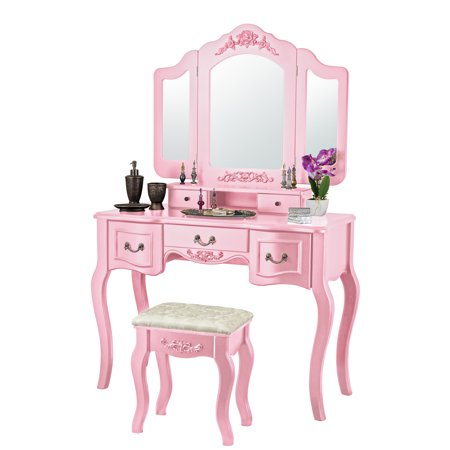 Fineboard Beauty Station Makeup Table and Wooden Stool Set with Mirrors and Organization Drawer, Pink