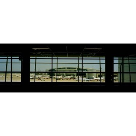 Airport viewed from inside the terminal Dallas Fort Worth International Airport Dallas Texas USA Stretched Canvas - Panoramic Images (18 x 7)