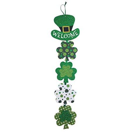 St Patricks Day Decoration Wall Hanging Welcome Wood Sign - Shamrock