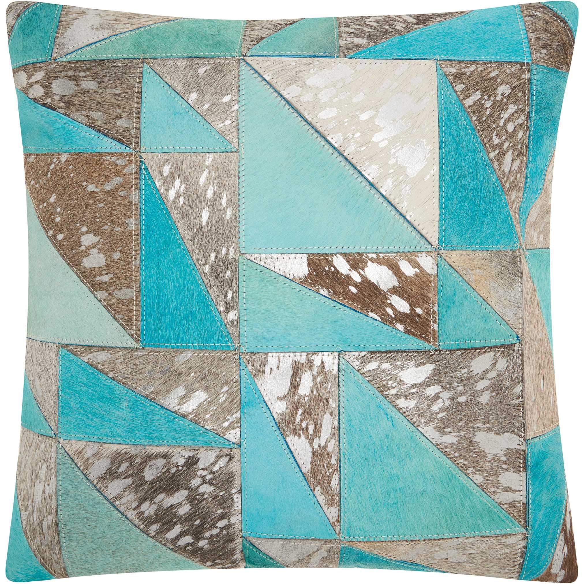 Nourison Dallas Southwestern Turquoise Triangles Grey/Silver Throw Pillow