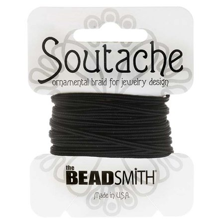 Soutache Cord - BeadSmith Soutache Braided Cord 3mm Wide - Black (3 Yard Card)